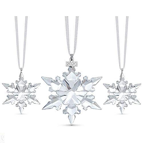 Swarovski Snowflake Anniversary Ornament Set, Limited Edition for 2020, Swarovski Crystal Christmas Tree and Home Ornament