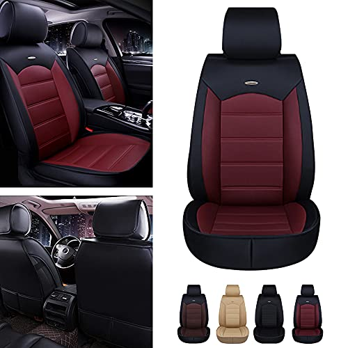 Maidao Fundas de asiento de coche personalizadas para Audi A6 Sedan Avant delantero fila asiento protector cuero artificial impermeable con airbag compatible 2Seat cojín negro rojo