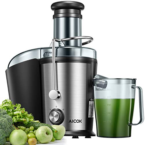 Licuadoras Para Verduras y Frutas, Aicok 800W Centrífugo con Boca Ancha de 75MM, Doble Velocidad con Pies Antideslizantes, Diseño Antigoteo, Libre de BPA
