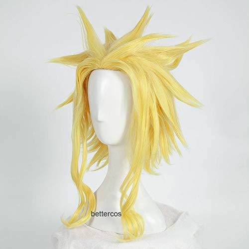My Hero Academia All Might Cosplay Perruques Courte Blonde Dorée Résistant À La Chaleur Synthétique Perruque + Bonnet De Perruque