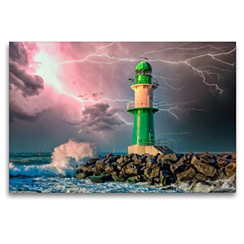 CALVENDO Premium Textil-Leinwand 120 x 80 cm Quer-Format Leuchtturm Warnemünde, Deutschland, Leinwanddruck von Peter Roder