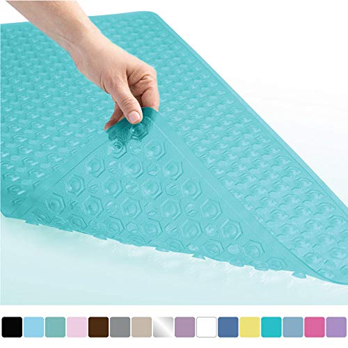 Gorilla Grip Original Patented Bath, Shower, Tub Mat, 35x16, Washable, Antibacterial, BPA, Latex, Phthalate Free, Bathtub Mats with Drain Holes and Suction Cups, XL Size Bathroom Mats, Turquoise