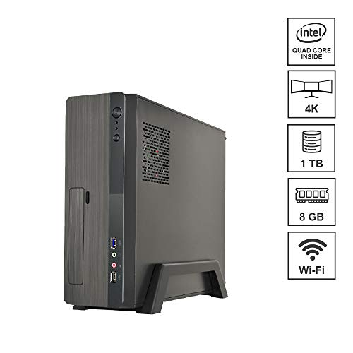DILC Micro Mini Pc Desktop Intel Quad Core 1.50 ghz Ram 8 gb Hard Disk 1 tb WiFi Masterizzatore Licenza Windows 10 PRO