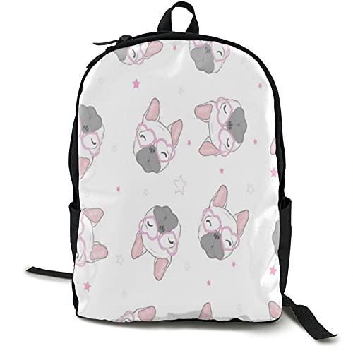 Kids School Backpack For Girls Boys Dog French Bulldog Polyester Adjustable Shoulder Strap Laptop Bag Multi-Function Tablet Bag For Concert & Sport Event