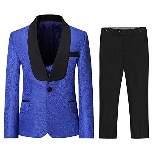 Boyland Boys Tuxedo Suits Floral Jacqurad 3 Pieces Slim Fit Shawl Lapel Tux Jacket Tux Vest Pants Party Wedding White Blue (Royal Blue, 14/160)