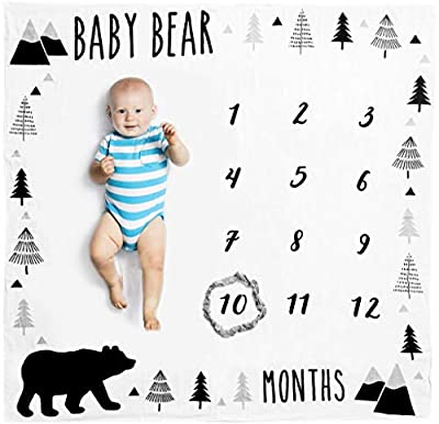 Organic Baby Monthly Milestone Blanket Boy - Baby Bear Months Photo Blanket with Bib + Month Marker - Personalized Baby Boy Milestones, Newborn to 12 Months, Woodland Nursery Décor, Baby Shower Gift