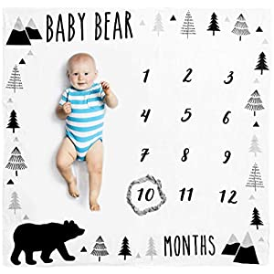 Organic Baby Monthly Milestone Blanket Boy – Baby Bear Months Blanket with Bib + Month Frame – Baby Boy Milestone Blanket for Newborn to 12 Months Milestones, Woodland Nursery Decor