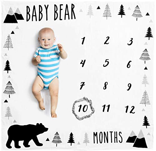 Organic Baby Monthly Milestone Blanket Boy | Baby Bear Months Photo Blanket with Month Marker | Personalized Baby Boy Milestones | Newborn to 12 Months | Woodland Nursery Décor | Baby Shower Gift