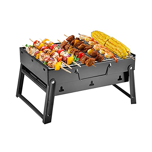 MYWA Rostfritt stål grill rökare kolgrill, grillredskap, bärbar kolgrill för utomhusmatlagning, trädgård, fest, picknick, camping, vandring