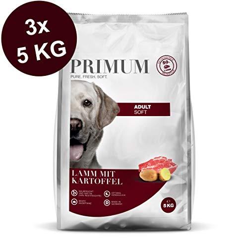Primum | Halbfeuchtes Trockenfutter | Soft Lamm mit Kartoffel | 3 x 5 kg | 70% Fleisch | Getreidefrei | Beste Akzeptanz und Verträglichkeit
