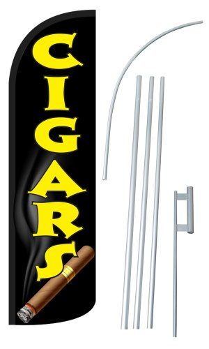 NEOPlex - 'CIGARS' 12-foot SUPER Swooper Feather Flag With Heavy-Duty 15-foot Pole and Ground Spike