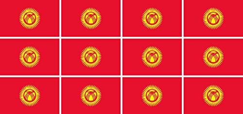 Mini Aufkleber Set - Pack glatt - 50x31mm - Sticker - Kirgisistan - Flagge - Banner - Standarte fürs Auto, Büro, zu Hause & die Schule - 12 Stück