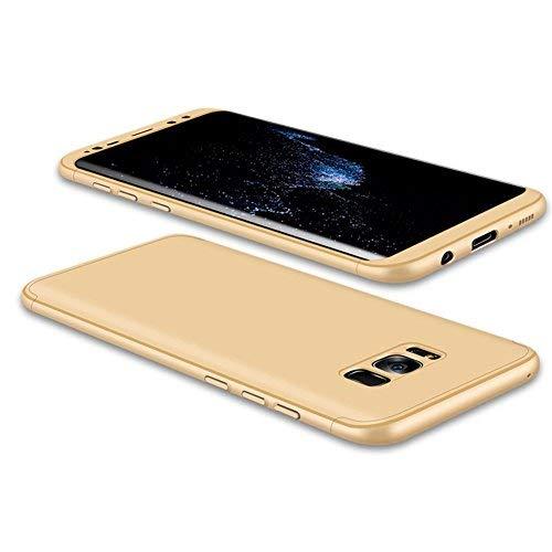 JMGoodstore Funda Galaxy S8 Plus,Carcasa Samsung S8 Plus,Funda 360 Grados Integral para Ambas Caras+Cristal Templado,[ 360°] 3 in 1 Slim Fit Dactilares Protectora Skin Caso Carcasa Cover Oro