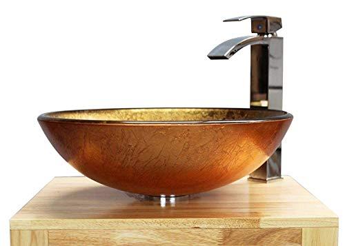 Home Supplies - Lavabo in vetro dorato per bagno e guardaroba