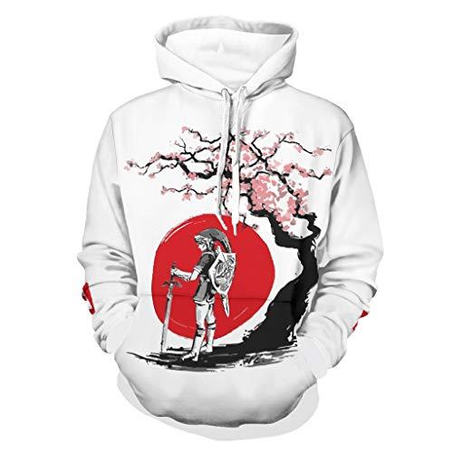 Japanischer Sakura Hero Zelda Link Sweater Soft Comfort Hoodies mit gabelter Kängurutasche für Woker, Sportler für den Alltag, weiß, Größe 2XL