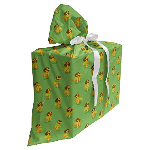ABAKUHAUS Hawaii Cadeautas voor Baby Shower Feestje, Meisjes dansen rieten rokjes, Herbruikbare Stoffen Tas met 3 Linten, 70 cm x 80 cm, Veelkleurig