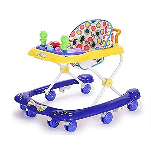 IGLZ Multifuncional Anti-vuelco Andador de Altura Regulable for niños de 6-18 Meses Walker Posición Fija Bebé Comida Carro de la Carretilla Plegable de Seguridad Conveniencia niños (Color : Azul)