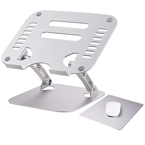 KEECOW Laptop Stand with Mouse Pad,Adjustable Ergonomic Aluminum Computer Stand Set for Desk with MacBook Air/Pro, HP,Lenovo,More 10-15.6' Laptops (Silver)