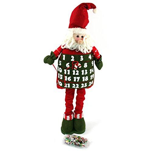 Flessibile Babbo Natale/Calendario Dell' Avvento Di Babbo Natale Con Gambe Allungabili Flessibile Che Alto 75 Cm. È Dotato Di Lusso Latte Cioccolatini