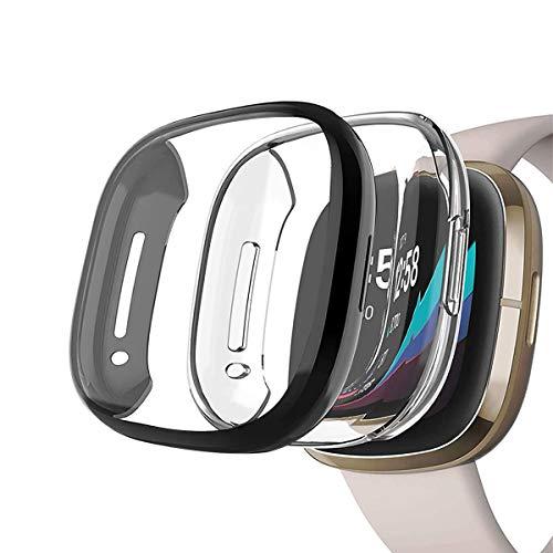 Yaoket [2-Pezzi Case Compatible con Fitbit Versa 3 Sense Smartwatch, TPU Morbido Custodia Protettiva Rugged Cover all-Around Protective Bumper Shell (Nero Chiaro)