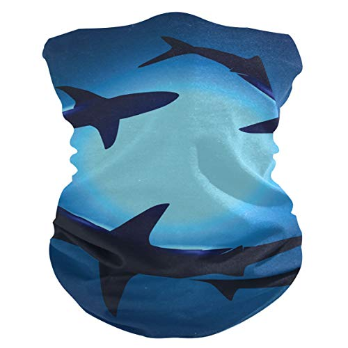 AGONA Blue Ocean Marine Floating Sharks Animal Face Sun Dust Mask Neck Gaiter Headwear Headbands Balaclava Bandana Mask for Men Women Magic Scarf for Cycling Camping Motorcycling Running Sport