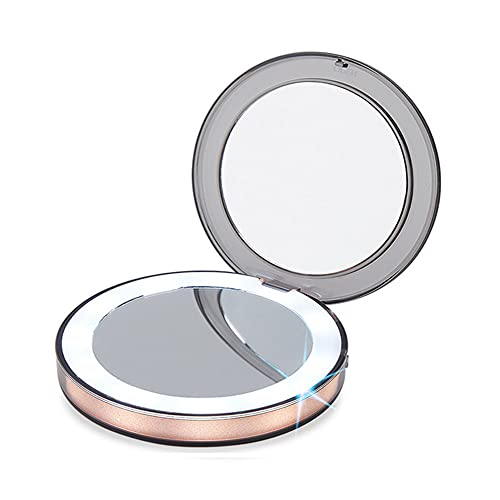 BFBSMZD LED Lighted Travel Makeup Mirror, Compact Makeup Mirror, 2-Sided 1x/3x Magnification Compact Mirror, Handheld & Portable, for Women Girls, Beauty, Travel, Camping, School Gift,Brown