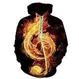 Sudaderas con capucha para hombre y mujer, diseño de notas musicales, colores impresos, otoño, invierno, 3D, sudaderas con capucha Dorado O L