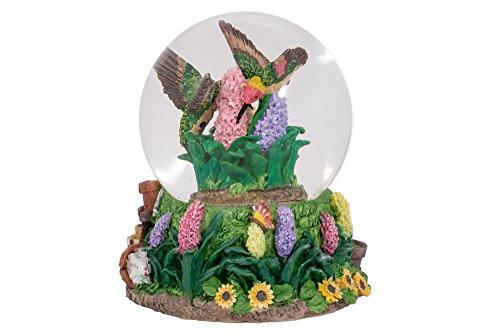Elanze Designs Hummingbirds Hyacinth Flower Garden Glass Musical Snow Globe Plays Song Everything is Beautiful