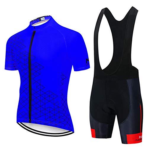 QWA Men's Short Sleeves Cycling Jersey Full Zip Set Road Bike Bicycle Shirt + Bib Shorts with 20D Gel Padded MTB Riding Clothing kit (Color : Blue 1, Size : C(M))