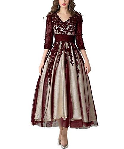 FNKS CRAFT Women's Tulle Prom Evening Dress Lace Tea-Length Ball Gowns Wedding Dress