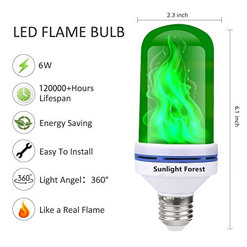 OMK - LED Flame Effect Fire Light Bulbs - Newest Upgraded 4 Modes Green Flickering Fire Simulated Lamps - E26 Base LED Bulb - 6W Energy Efficient Fire Lights for Indoor/Outdoor Decoration (2Pack)
