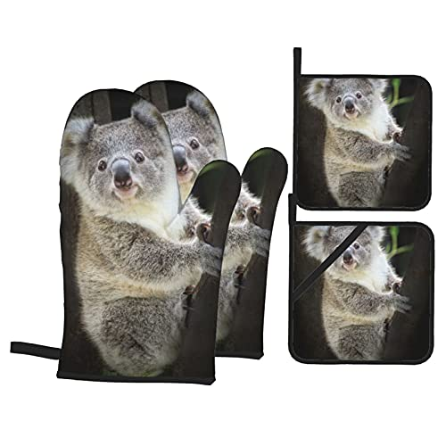 Oven Mitts And Pot Holders Sets Of 4 Cute Koala Bear In Zoo Bbq Gloves Heat Resistant Pot Holders Non-Slip Cooking Gloves For Trays Grilling Cooking