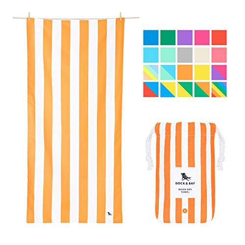 Dock & Bay Sand Free Beach Towel - Cabana - Ipanema Orange - Large (160x90cm, 63x35) - Fast Drying Camping Towel for Sports, Pool, Bath Towel - 100% Recycled