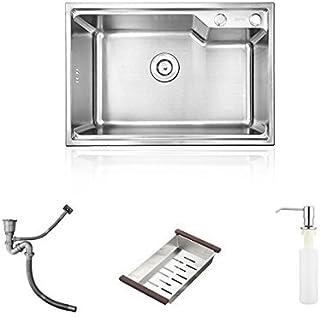 HomeLava Küchenspüle Edelstahlspüle 1 Becken Einbauspüle 304 Edelstahl Spülbecken Spüle 58 x 43 x 23 cm
