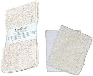Janey Lynn Designs Ooh La La French Vanilla Shaggie & Shrubbie Cotton Chenille Washcloth Set of 2