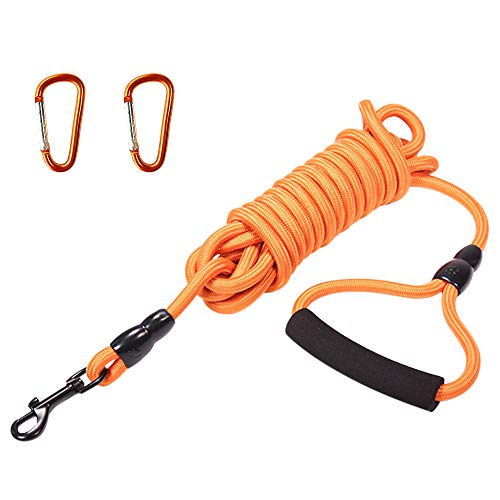 Dog Training Leash 15Ft, Nylon Long Dog Leash can Float on The Water Heavy Duty Rope for Small Medium Large Dogs Swimming, Running, Camping or Backyard,Dog Training Leash with Foam Handle(15ft)