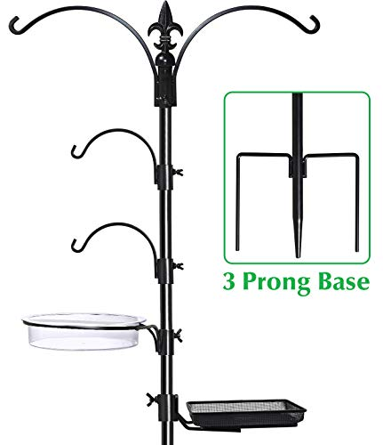 Gray Bunny Premium Bird Feeding Station Kit, 22' Wide x 91' Tall (82 inch Above Ground) Black, A Multi Feeder Hanging Kit & Bird Bath for Attracting Wild Birds, Birdfeeder and Planter Hanger
