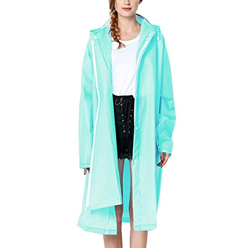 IZHH Mode Damen Regenjacke, Kapuze Transparente Eva Mantel Feste Taschen Winddicht Freien Outwear wasserdichte Splice Windjacke Regen Zubehör für Camping und Reisen(Hellblau,X-Large)