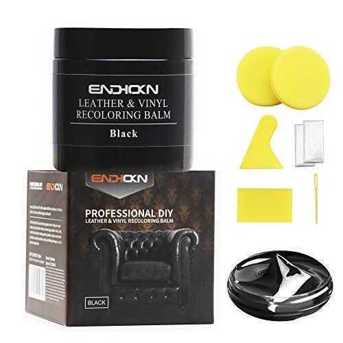 Endhokn 200ml Pelle Nera Kit di Riparazione di Colori in Vinile - Sedili Auto, Divani e Prodotti in Pelle Crack, Sfumatura, Usura Riparazione di Colori