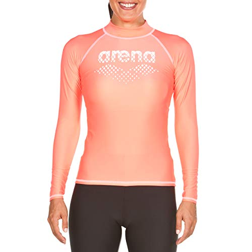ARENA Woman Long Sleeves Shirt Camiseta De Manga Larga Mujer con Protección UV, Shiny Pink-White, XS