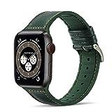 Tasikar Correas Compatible con Correa Apple Watch 44mm 42mm, Diseño de Silicona de Cuero Correa de Repuesto para Apple Watch SE Series 6/5/4 (44mm) Series 3/2/1 (42mm), Verde