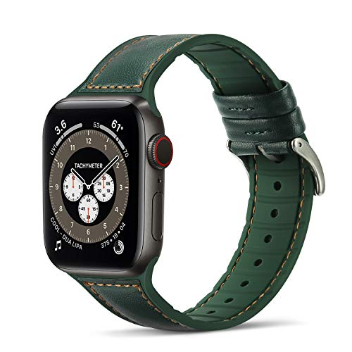 Tasikar Compatibile per Cinturino Apple Watch 42 mm 44 mm Cinturini di Sportivo in Vera Pelle e Silicone Morbido per Apple Watch SE Serie 6/5/4 Serie 3/2/1 - (42mm 44mm, Verde)