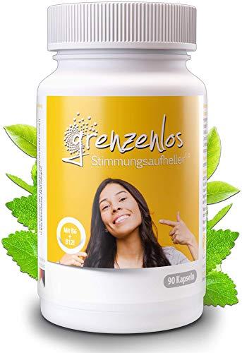 grenzenlos® Stimmungsaufheller 90 Kapseln - Natürlicher Stimmungsaufheller hochdosiert mit 21 Inhaltsstoffen für Psyche & Nervensystem - Markenprodukt aus Deutschland mit Ginseng & Ginkgo - 100% vegan