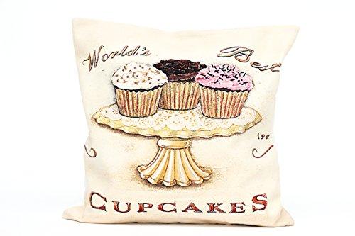 Kissenbezug Wiete 40x40cm Cupcake Muffin Kissenhülle Vintage Cupcakes Muffins Nostalgie Kissen Dekokissen