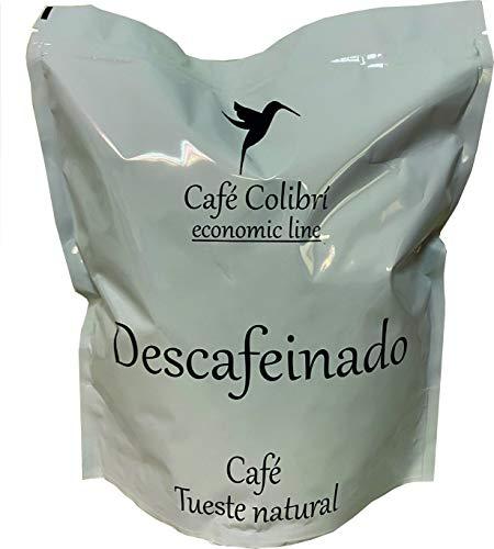 Café Colibrí, DESCAFEINADO ECONOMIC LINE, Café en Grano, Tueste Natural, Bolsa 1Kg. Con Zip para mejor conservación