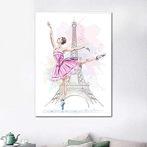 Lunderliny Bailar Ballet Girl Nordic Poster Lienzos De Pared Impresiones De Arte Imágenes De Arte De Pared De Pintura En Tela, Carteles E Impresiones Sin Enmarcar 50x70cm