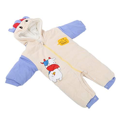 Mono para bebé, mameluco con capucha duradero, conveniente para uso infantil en invierno frío Mono engrosado para niños(Beige, 90cm)