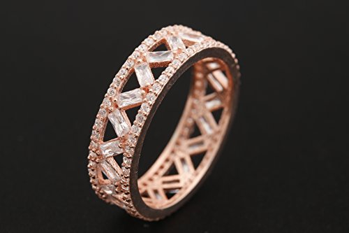 Handmade Turkish Special Baguette Topaz Jewelry 925 Sterling Silver Rose Gold Band Ring Gift for Her All Sizes