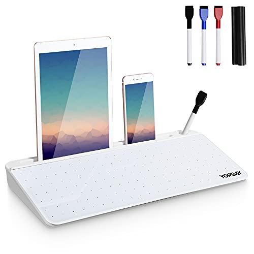 Yorbay Schreibtisch Whiteboard Glas Memoboard klein Schreibtafel Tastatur Tablet Ständer für Büro Organizer, mit Punktmatrix-Design für Malen, großer Stauraum, mit 3 Stifte, 45x19x5,5 cm