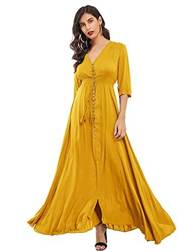 Milumia Women's Button Up V Neck Half Sleeve Split Flowy Plain Party Maxi Dress Yellow Small
